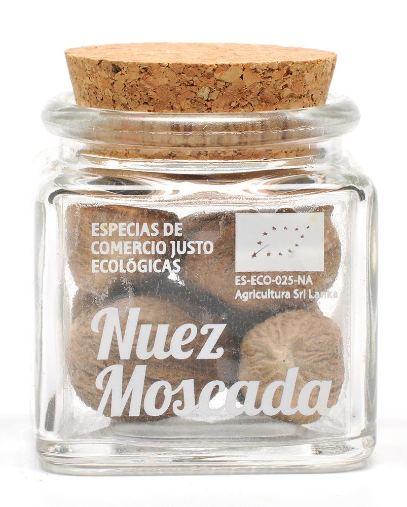 nuez moscada ecológica y de Comercio Justo en tarro de cristal transparente con tapón de corcho