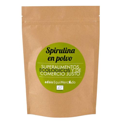 Spirulina en polvo ecológica y de Comercio Justo, en bolsa marrón