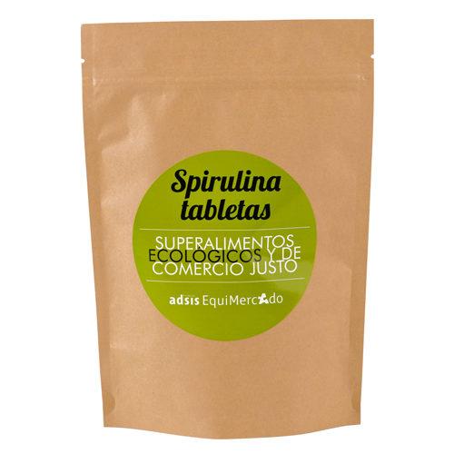 Spirulina en tabletas de Comercio Justo, en bolsa marrón