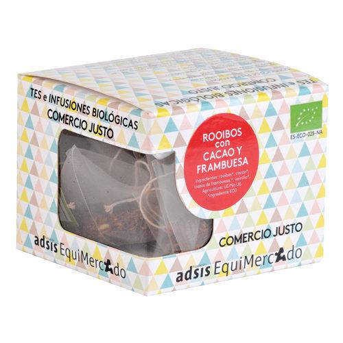 Caja de rooibos con cacao y frambuesa en pirámides (contiene 15 uds)