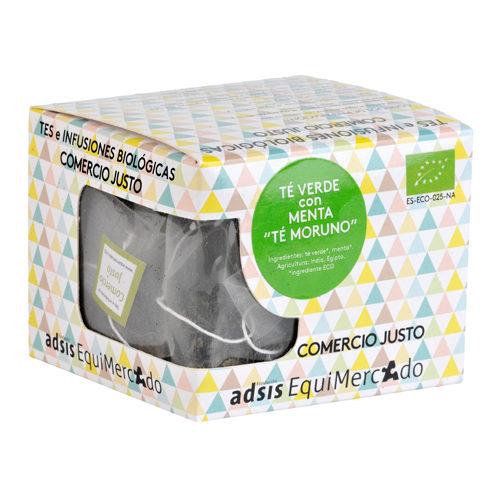 """Caja de té verde con menta """"té moruno"""" en pirámides (contiene 15 uds)"""