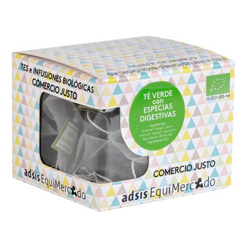 Caja de té verde con especias digestivas en pirámides (contiene 15 uds)