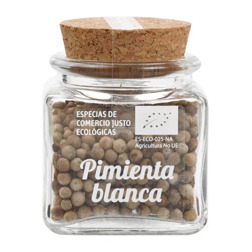 Bote de cristal de pimienta blanca en grano con tapón de corcho
