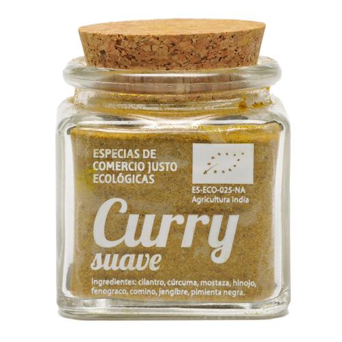 Bote de cristal de curry suave en polvo con tapón de corcho