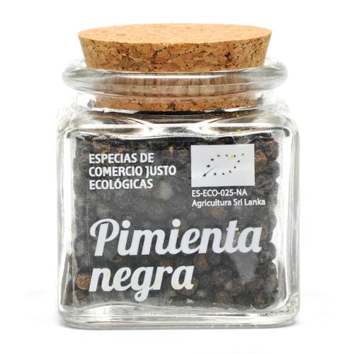 Bote de cristal de pimienta negra en grano con tapón de corcho