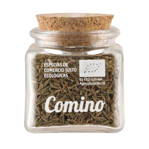 Bote de cristal de comino en semillas con tapón de corcho