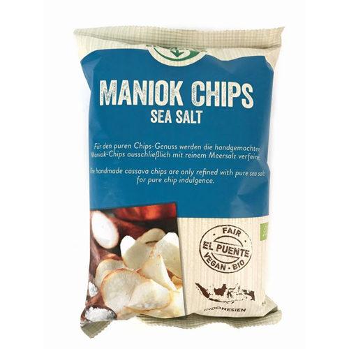 Bolsa de chips de mandioca con sal marina